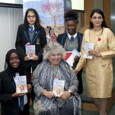 Miriam Margolyes, Aneeta Prem , cut flowers, fgm, freedom charity GEORGE DIXON ACADEMY